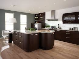 spacious kitchen interior design with small dining table and