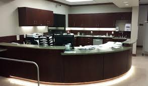 medical office reception desk and cabinets