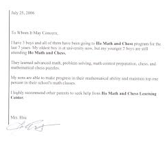 Character Letter Of Recommendation For A Student Math Tutor And Math Learning Center Franchise Testimonials