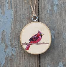 cardinal bird ornament wood slice ornament cardinal painting