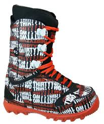 32 lashed snowboard boots size mens 9 black orange white winter