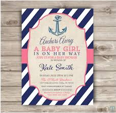 anchor theme baby shower nautical baby shower printable invitations navy blue and pink