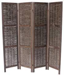 Wicker Room Divider Blake 4 Panel Room Divider Dark Brown Tropical Screens And