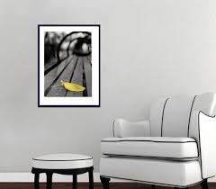 minimalist vertical photography black white bench yellow leaf art