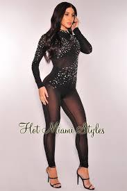black mesh jumpsuit sheer mesh stones sleeves jumpsuit