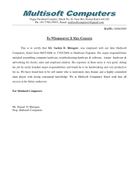 noc letter template experience certificate format doc for computer operator experience letter format