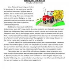 reading passage 1st grade grade reading comprehension worksheet living on the farm