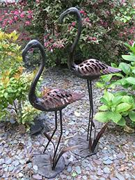 large garden ornaments flamingos with reeds antique copper