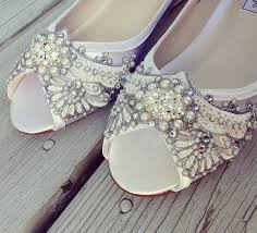 wedding shoes art deco inspired peep toe wedge lace crystal