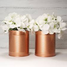 Copper Flower Vase Brand New Trending Painted Tin Cans Wedding Centerpieces Metallic