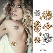 golden tatto body art metallic temporary tattoo jewelry bracelet