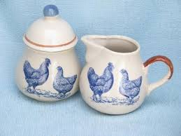 blue chickens print brown band vintage pottery kitchen set canisters