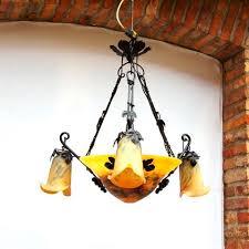 Art Nouveau Chandelier Art Nouveau Style Chandelier Blown Glass Wrought Iron Oled