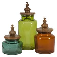 decorative kitchen canisters sets imax saburo glass and wood canisters set of 3 food storage at