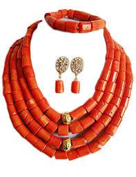 beads necklace images Nigerian wedding african bead orange coral bead jpg