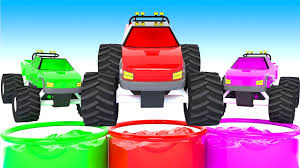 bigfoot presents meteor monster trucks children learn colors with monster trucks in color water monster