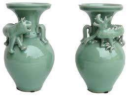 Celadon Vase Pair Of Celadon Green Dragon Tiger Ceramic Vases Asian Vases