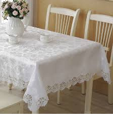 cheap white table linens in bulk white high quality elegant polyester satin lace tablecloth wedding