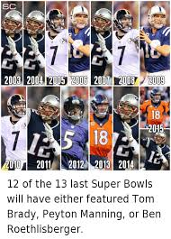 Patriots Broncos Meme - 12 of the 13 last super bowls will have either featured tom brady