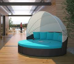 circular outdoor wicker rattan patio daybed with canopy fresh