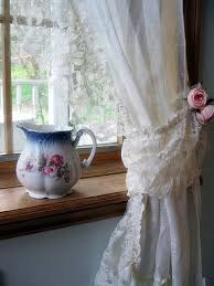 Country French Drapes Curtains Lace Curtains Frills Drapes Ivory Tie Backs Cottage