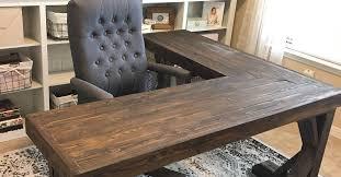 wood l diy l shaped farmhouse wood desk office makeover hometalk