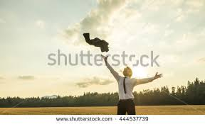 happy successful businessman throwing his stock photo