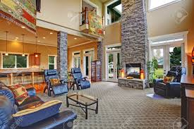 luxury house open floor plan spacious living room with high