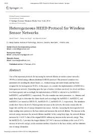 heterogeneous heed protocol for wireless sensor networks springer