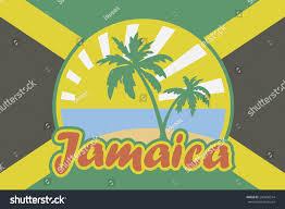 Jamaican Flag Shirt Jamaican Flag Emblem Tropical Beach Jamaica Stock Vector 240606514