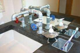 custom kitchen faucets custom made concrete vanity and galvanized faucet by