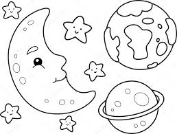 outer space coloring page u2014 stock photo lenmdp 48930131