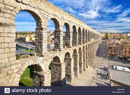 spain roman aqueduct bridge segovia unesco stock photo