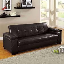 furniture of america logan espresso tone leatherette futon sofa