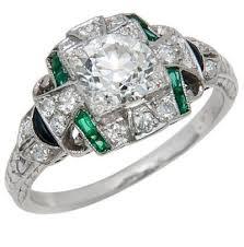 art deco diamond emerald and onyx engagement ring