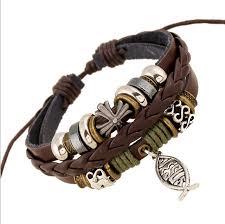 cross bracelet leather images Handmade cheap leather bracelets bangles mens bracelets women jpg