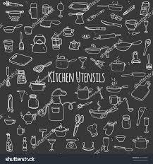 hand drawn doodle kitchen utensils set stock vector 373730293