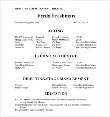 Resume Technical Skills List First Time Resume For General Theatre Include Technical Theatre