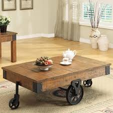 Rustic Wood And Metal Coffee Table Coffee Table Coffee Table On Wheels Surprising Brown Rectangle