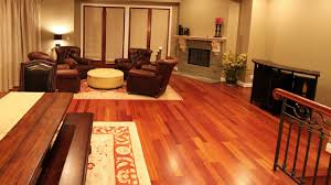 cherry hardwood flooring transitional living room