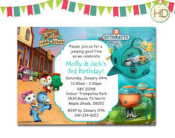cartoon wild west and octonauts twin birthday invitation ideas