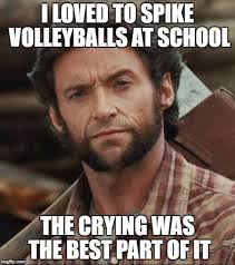 Volleyball Meme - wolverine plays volleyball imgflip