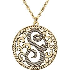 Monogram Necklaces 25 Mm 1 Letter Script Border Monogram Necklace