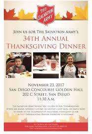 salvation army thanksgiving dinner thursday november 23 2017