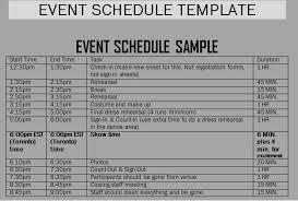schedule of events template template business