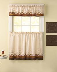 classic kitchen design with brown coffee printed kitchen curtains