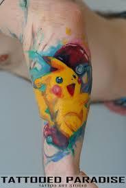 pikachu watercolor tattoo artist aleksandra katsan pinterest