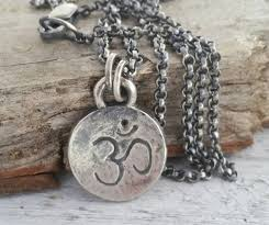 custom charm necklace om necklace ohm pendant rustic sterling silver om jewelry