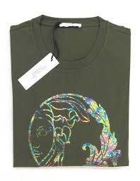 green opal versace opal medusa print army green long sleeve tshirts george