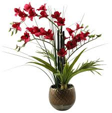 Silk Flowers Arrangements - red orchids in round ceramic planter contemporary artificial